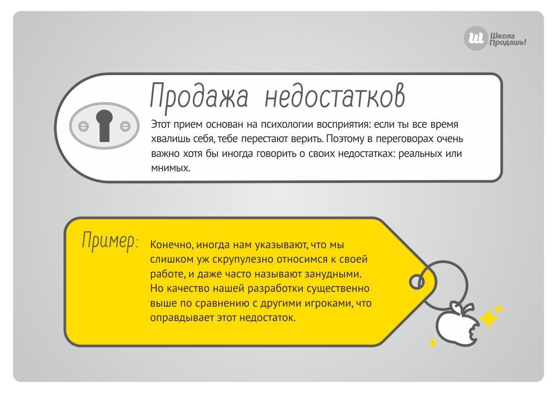 Продажа недостатков продукта или услуги как метод убеждения клиента